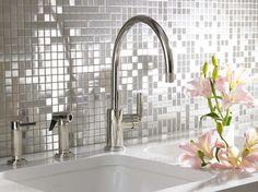 BATHROOM/KITCHEN: stainless steel mosaic tiles/backsplash