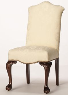 carringtoncourtdirect.com   $280      The Victoria Dining Chair        S1-071101-00 pictured in Odette Natural fabric with a Dark Walnut finish and Old Gold nailhead.