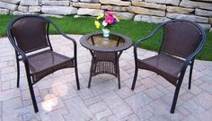 Oakland Living Tuscany Resin Wicker 3pc Set by Oakland Living. $351.58. Stainless steel or brass assembly hardware. Set includes Chat Table and 2 Chairs. Made of Durable Resin Wicker and Steel Frame Construction. Fade, chip and crack resistant. Easy to follow assembly instructions and product care information. Our all weather resin wicker sets are the perfect edition to any setting. Adds beauty, style and functionality to your home, garden or back yard patio. Ideal f...