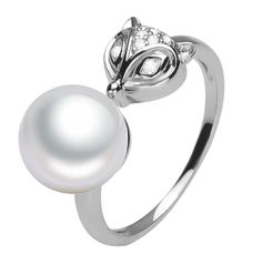 Fox Design 9mm Fresh Water White Pearl Sterling Silver Zircon Stones Adjustable size Ring