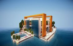 I'd love something like this for a house in Minecraft! Villa Minecraft, Minecraft Mods, Modern Minecraft Houses, Minecraft Mansion, Minecraft Structures, Minecraft City, Amazing Minecraft, Minecraft House Designs, Minecraft Construction