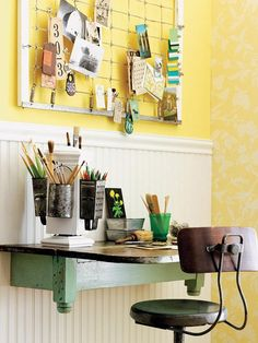 DIY Home Office – Small Spaces - Re-puposed materials make this terrific office desk space by BHG… More tips & ideas!