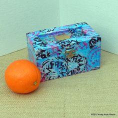 Karma blue mini box reuse wood hand printed pink by AntsyArtist