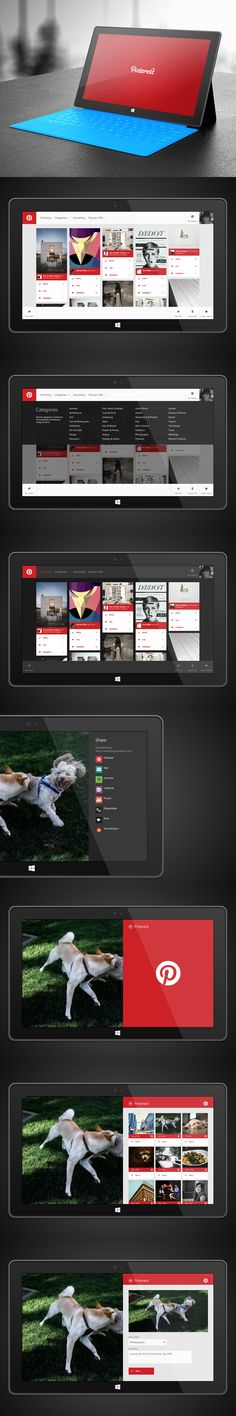 Sample personal spec work for Microsoft demonstrating official Windows 8 Pinterest application - Modern UI