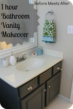 1 Hour Bathroom Vanity Makeover With Annie Sloan Chalk Paint | DIYATORMore Pins Like This At FOSTERGINGER @ Pinterest