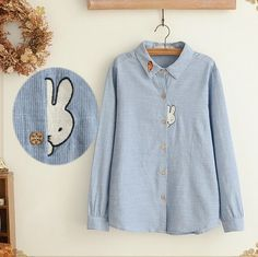 Shy bunny cute hiding rabbit applique Carrot embroidery long sleeve shirt blouse girl vintage
