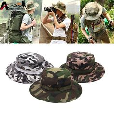 e7bb1b2c8db Wide Brim Washable Boonie Hats Adjustable Camouflage Bucket Hats Outdoor  Hunting Fishing Foldable Sun UV Protection