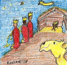Illustration über die Heiligen Drei Könige bei der Pinkelpause