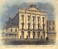 This engraving of Ford's Theatre, where Lincoln was attacked, shows it draped in mourning immediately following the President's death.
