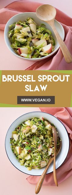 Brussel Sprout Slaw   Vegan.io   The easist way to follow a vegan diet Easy Vegan Lunch, Vegan Lunches, Vegan Recipes Easy, Brussel Sprout Slaw, Vegan Side Dishes, Vegan Meal Plans, Roast Pumpkin, Vegetable Sides, Food For Thought