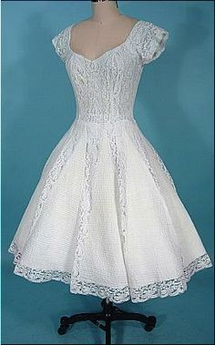 70's white cotton and lace wedding dress