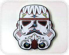 6df4a0e066 Mini Stormtrooper Sugar Skull Wall Clock Day of The Dead Modern Star Wars  Decor