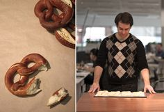 Pretzels from Our Kitchen at Fisher & Paykel. The buttered Pretzel is an all time classic. A ham filling goes well the lye flavour of the Pretzel. But the best way to truly enjoy them, is with a half litre jug of beer and Bavarian white sausages in a beer tent during October Fest.