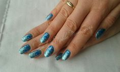 CND Shellac Lost Labyrinth with Cerulean Blue pigment & Green Gold Sparkle additive fade with Moyou stamping.