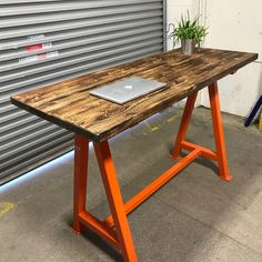 Steel box section A frame table , rustic wooden bar hight table