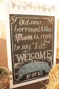 Because Home Should Be Great: A Beautiful Bridal Shower DIY Style.  A made-over thrift store chalkboard gets a fancy sign to welcome guests at my sister