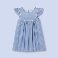 Striped flutter sleeve dress - Girl - blue white - Jacadi Paris