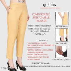 Checkout this latest Women Trousers Product Name: *Women Comfort Stretchable Trouser* Fabric: Lycra Pattern: Solid Multipack: 1 Sizes:  26, 28, 30, 32, 34, 36, 38, 40, 42 Country of Origin: India Easy Returns Available In Case Of Any Issue   Catalog Rating: ★4.1 (2988)  Catalog Name: Women Comfort Stretchable Trouser CatalogID_1646493 C79-SC1034 Code: 013-9390713-327