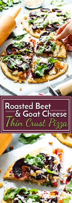 Roasted Beet & Goat Cheese Pizza with Caramelized Onions | A gluten-free, vegetarian and healthy thin crust pizza recipe that is made with a coconut flour pizza crust and then topped with goat cheese, caramelized onions, roasted beets and arugula! It makes a healthy weeknight dinner recipe.
