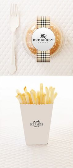 """Fashionized fast-food packaging concept series McFancy"""" for McDonald's by Amy Moss. Burberry, Cool Packaging, Packaging Design, Burger Packaging, Innovative Packaging, Beverage Packaging, Packaging Ideas, Tart, Luxury Food"""