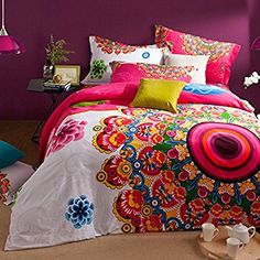 TheFit Home Textile, Cotton Sanded Fabric Luxury O16, Boho Style Bedding Set,Boho Duvet Cover Set,Bohemian Bedding Set, King 4Pcs (King)