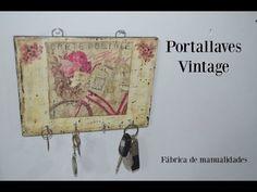 (298) Cómo hacer un guarda llaves vintage con decoupage y madera reciclada - YouTube