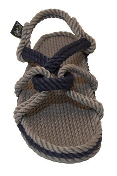 Mountain momma rope sandal in gray and navy color. Perfect for setting sail on nautical adventures!