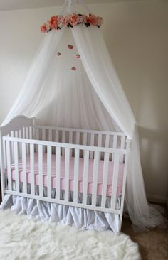 Elegant Shabby Chic Crib Crown Flower crib canopy childrens tent Floral White and Pink Crib or Bed Canopy With Hanging Crystals and Roses%categories%nursery room Princess Nursery, Girl Nursery, Girl Room, Chic Nursery, Pink Crib, Pink Bedding, Chic Bedding, Pink Bed Canopy, Childrens Tent