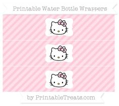 Free Pink Diagonal Striped Hello Kitty Water Bottle Wrappers