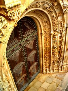 Gold ornate archway with decorative iron #door Tomar, Santarém,