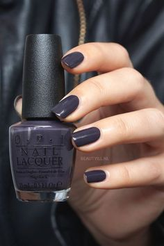 OPI Suzi & the Arctic Fox dark muted plum creme from the iceland collection nail polish lacquer vernis swatch manicure NailPolishTips Diy Nagellack, Nagellack Trends, Nagel Tattoo, Nail Lacquer, Dark Nails, Blue Nails, Blue Gel, Dark Color Nails, Dark Colors