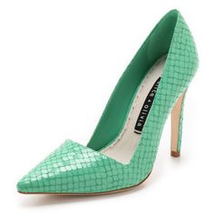 Alice + Olivia Makayla Snake Pumps - Teal (€270) found on Polyvore featuring shoes, pumps, snake shoes, teal shoes, leather shoes, pointed toe high heel pumps and high heel shoes