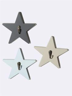 "Wandhaken ""Stern"", 3er-Set - blau/grau/beige"