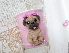 Купить Кружка Мопс с бантиком...))) - розовый, кружка на заказ, кружка с декором, кружка в подарок