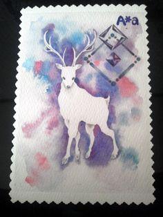 切手風アニマルポストカード3種「白兎・白鹿・白熊」