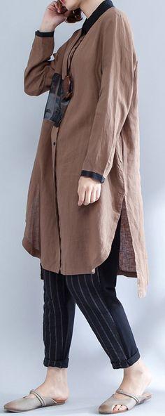 khaki patchwork linen blouse loose side open shirt long sleeve tops3
