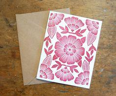 Set of Six Block Printed Cards by ShopKatharineWatson on Etsy