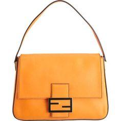 FENDI Big Mama Zucca-Flap Large Shoulder Bag, Orange