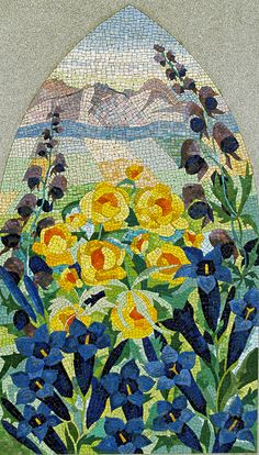 Paradise - Mosaic is part of the gravestone of Drs. Otton Martin Nikodym and Stanistowa Nikodym, in Our Lady of Czestochowa Shrine Cemetery in Doylestown, PA. Pebble Mosaic, Mosaic Wall Art, Mosaic Diy, Mosaic Garden, Mosaic Crafts, Mosaic Projects, Tile Art, Mosaic Glass, Mosaic Tiles