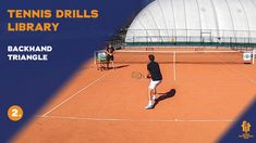 Backhand tennis drill where the player has to hit the ball from 3 different on-court positions.  Improve your game or add this drill to your drills library!  SUBSCRIBE to see more High-Quality tennis videos. Thanks Tennis Videos, Drills, Improve Yourself, Triangle, Basketball Court, Positivity, Ads, Sports, Free