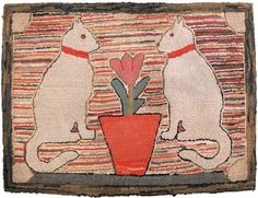 "Realized Price: $4740   American hooked rug, 19th c., depicting two cats flanking a potted flower, 26"" h., 39 1/2"" w."