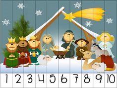 Divertidos  rompecabezas Puzzles numéricos 1 AL 10 para trabajar esta navidad