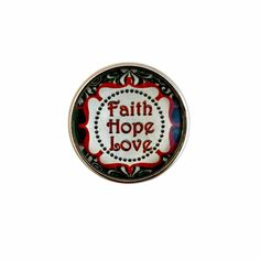 #344 Faith Hope Love Snap Charm 20mm for Snap Charm Jewelry