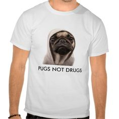 Here's a streetwise puppy dog! Pugs Not Drugs Funny and totally true T-Shirt for those addicted to all things PUG!