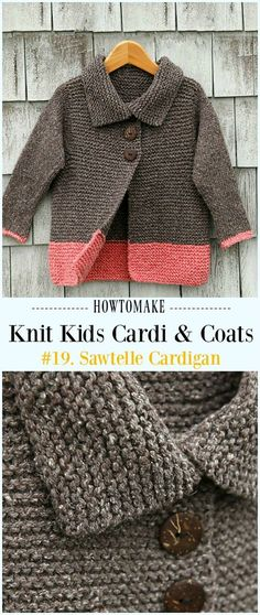 Kids Cardigan Sweater Free Knitting Patterns Sawtelle Cardigan Free Knitting Pattern - Kids Sweater Free Patterns Always aspired to discover how to k. Kids Knitting Patterns, Baby Cardigan Knitting Pattern, Knitting For Kids, Knitting Designs, Free Knitting, Finger Knitting, Scarf Patterns, Knit Cowl, Knitting Machine