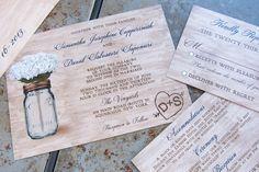 Rustic Mason Jar Wedding Invitation set. Mason Jar and Flowers Wedding Invitation set by mybigdaydesigns on Etsy https://www.etsy.com/listing/121004845/rustic-mason-jar-wedding-invitation-set