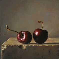 Due ciliegie - 2013 olio su tavola cm 15x15 © Gianluca Corona