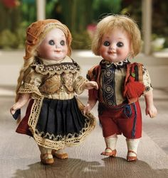 Sanctuary: A Marquis Cataloged Auction of Antique Dolls - March 19, 2016: Pair, German Bisque Googlies, 323, by Marseille in Original Folklore Costumes