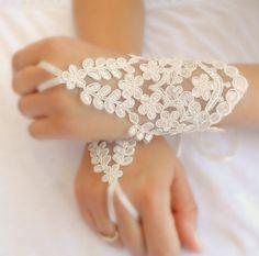 ivory lace gloves ivory  lace cuffs collar wrist by WEDDINGHome, $38.00