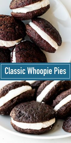 Pie The best whoopie pies recipe with 3 optional fillings: marshmallow, buttercream, or cream cheese.The best whoopie pies recipe with 3 optional fillings: marshmallow, buttercream, or cream cheese. Köstliche Desserts, Delicious Desserts, Dessert Recipes, Yummy Food, Chocolate Whoopie Pies, Chocolate Recipes, Chocolate Cookies, Chocolate Chocolate, Homemade Chocolate